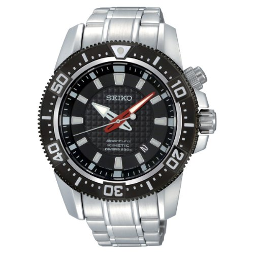 Seiko Men's Kinetic Sportura Black Dial Stainless Steel Bracelet Diver's Watch SKA511P1