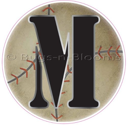 """""""M"""" Baseball Alphabet Letter Name Wall Sticker (5 1/2"""" Diameter). Decal Letters For Children'S, Nursery & Baby'S Sport Room Decor, Baby Name Wall Letters, Boys Bedroom Wall Letter Decorations, Child'S Names. Sports Balls Mural Walls Decals Baby Shower front-1008630"""