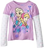 Disney Little Girls Anna and Elsa Long-Sleeve Twofer Shirt