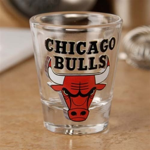 Chicago Bulls 2 oz. Enhanced High Definition Logo Shot Glass by Hunter