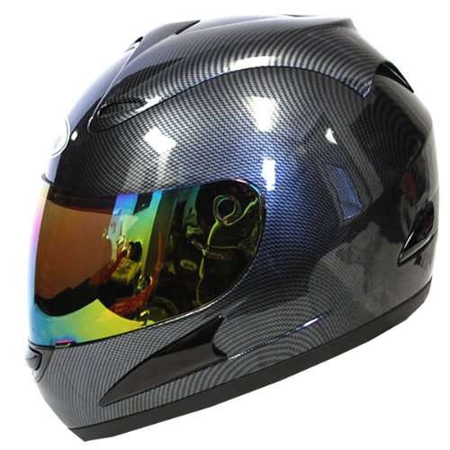 Motorcycle Street Bike Fiber Carbon Black Full Face Adult Helmet + Bonus: One Clear Lens (Full Face Carbon Helmet compare prices)