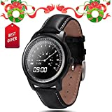 Lemfo Lem1 Smart Watch Bluetooth Smartwatch Wristwatch Full Hd IPS Waterproof Fitness Tracker Phone Mate for Android Ios (Black)