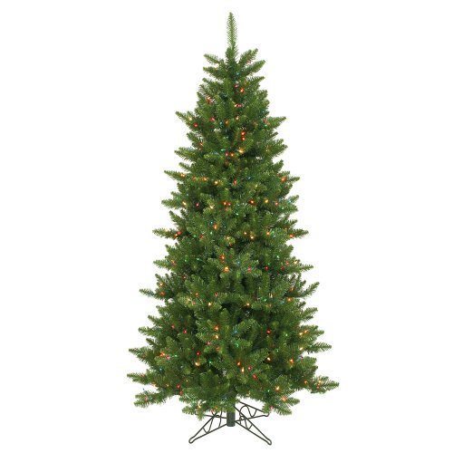 6.5' Pre-Lit Slim Camdon Fir Artificial Christmas Tree - Multi Led Lights