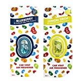 JELLY BELLY TWIN PACK CAR VENT CLIP AIR FRESHENER SCENTS - BLUEBERRY + LEMON DROP