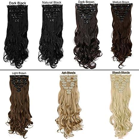 syalex (TM) nouvelle 43-61cm Cheveux Bouclés Blond Wave noir marron 18clips en extension de cheveux à clipser pour tête complète cheveux épais 8pièces individuelles, AshBlonde, 24