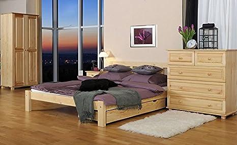 Bett / Gästebett Kiefer Vollholz massiv natur A4, inkl. Lattenrost - Abmessung 140 x 200 cm
