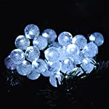 TLT Solar Powered 30 LED Crystal Ball Fairy String Lights (Cool White) - Great for Christmas Party Garden Tree Decoration LED024L