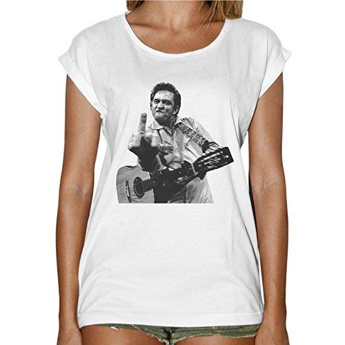 T-Shirt Donna Fashion Johnny Cash Chitarra Fuck You - Bianco