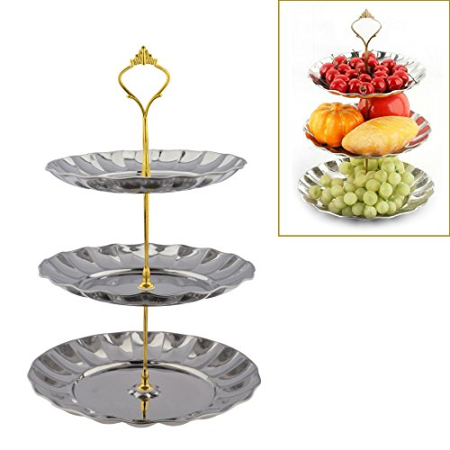 Candy Buffet Stand, Petforu 3-tier Fruits Cakes Desserts Sliver Color Stainless Steel Plates stand for Wedding Buffet (Buffet Server 3 Tier compare prices)