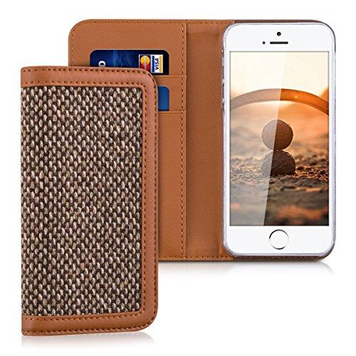 kalibri-Wallet-Case-Hlle-Donna-fr-Apple-iPhone-SE-5-5S-Cover-Flip-Tweed-Kunstleder-Tasche-mit-Kartenfach-in-Braun