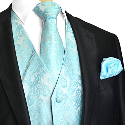 Men's 3pc Paisley Design Dress Vest Tie Handkerchief Set For Suit or Tuxedo (XL (Chest 46), Tiffany Blue) (Tiffany Blue Shirt compare prices)