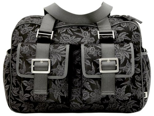 OiOi Changing Bag - The Carry All - Charcoal/ Black Floral Jacquard