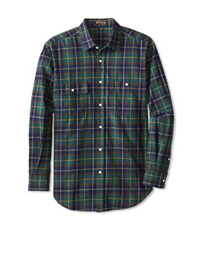 J. McLaughlin Men's Sutton True Indigo Plaid Shirt