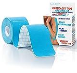 Kinesiology Tape - 20 Pre-cut Strips , Blue , with Bonus eBook