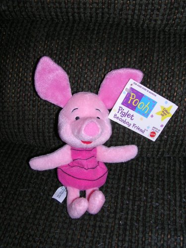 "Disney Piglet Plush 9"" Bean Bag by Mattel from Winnie the Pooh"