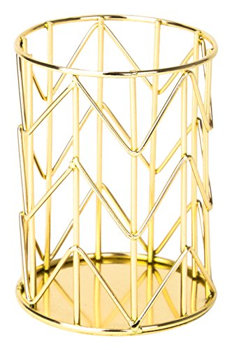 U Brands Pencil Cup, Wire Metal, Gold (Tabletop Marker Organizer compare prices)