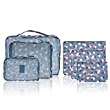 Cosmos Set of 6 Waterproof Travel Organizers Packing Cubes Luggage Organizers - 3 Travel Cubes & 3 Pouches ( Daisy)