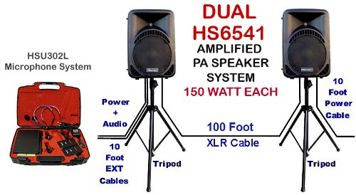 300 Watt Dual Portable Pa System Hs6541 With Hsu302L Uhf Wireless Lapel Microphone System, Tripod And Cables