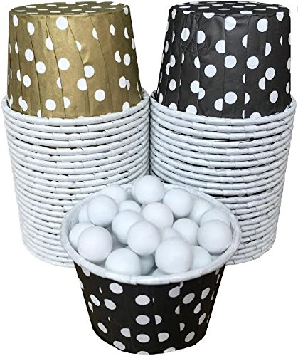 Outside the Box Papers Polka Dot Candy/Nut Cups 48 Pack Black, Gold, White (White Gold Wax compare prices)