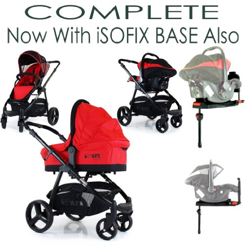 i-Safe System - Red Trio Travel System Pram & Luxury Stroller 3 in 1 Complete With Carseat & Carrycot Only iSafe + iSOFIX Base