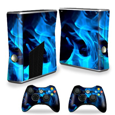 Protective Vinyl Skin Decal Cover for Microsoft Xbox 360 S Slim + 2 Controller Skins Sticker Skins Blue Flames