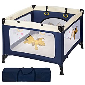 TecTake Portable Child Baby Infant Playpen Travel Cot Bed Crawl Play Area new blue from TecTake