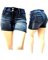 LA CHULA WOMENS PLUS SIZE DARK BLUE SHORT Acid Wash denim jeans Stretch HI WAIST