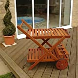 Trueshopping Versatile Hardwood Garden / Patio Barbecue Food / Drinks Trolley / Cart with 2 Large Wheels and 3 Wine Bottle Holders