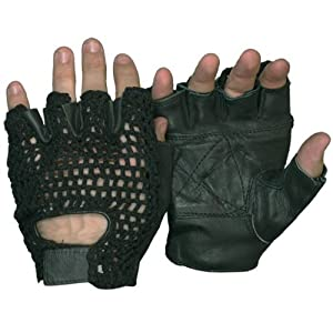 Hot Leathers Fingerless Leather Gloves with Mesh (Black, Small)