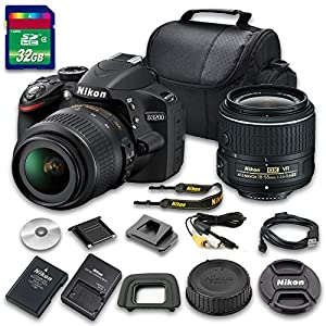 Value Kit for D3200 DSLR Camera with 18-55mm f/3.5-5.6G VR II Lens + Camera Cap + 32 GB Memory Card + Camera Case+ Strap + All Original Accessories Included