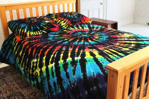 300Tc Duvet Cover Set - Rainbow & Black Spiral Tie-Dye - Twin Size back-390635