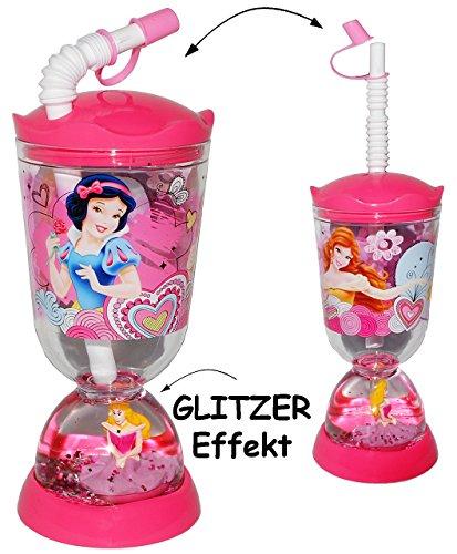 Trinkbecher-Trinkflasche-GLITZERBECHER-Disney-Princess-Prinzessin-mit-Strohhalm-Deckel-300-ml-mit-Wasser-Glitter-Becher-Sommerglas-Trinklernbecher-Plastikbecher-zB-Limonade-Erfrischung-Sommer-Smoothie