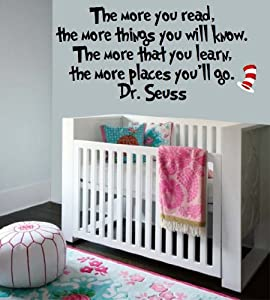 Dr Seuss Quote-Vinyl Wall Decal-The More You Read-BLACK-Sticker Decal-Wall Decal-Home Decor-Wall Sticker-24