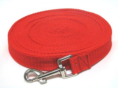 【560kick-dog】 ペット 犬 の トレーニング 運動 に ロング リード 幅 2 cm  赤 黒 青 (レッド20m)