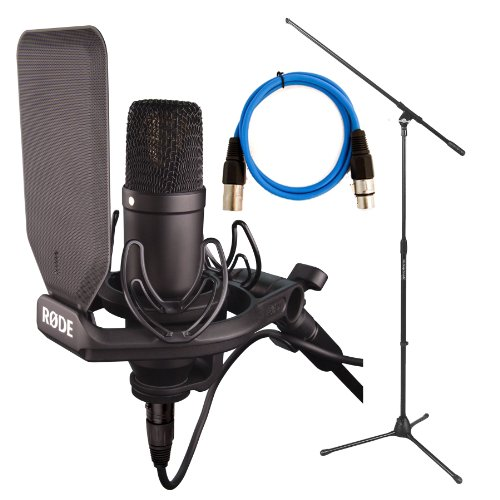 Studio Recording Kit: The New Rode Condenser Nt1 Kit With Smr New Design Shock/Pop Filter, On Stage Boom Mic Stand, 20Ft Xlr Mic Cable