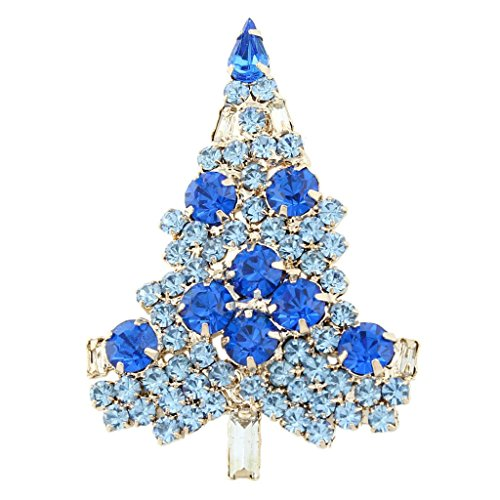 EVER FAITH Art Deco Christmas Tree Brooch Blue Austrian Crystal Gold-Tone Holida…