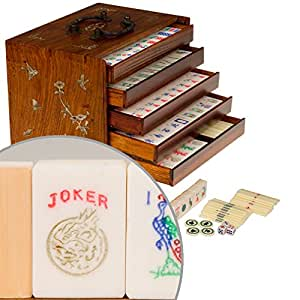 American Rosewood Mahjong / Mah Jongg Set with 5 Drawer Box