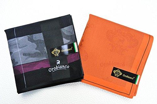 (オロビアンコ)orobianco 紳士 メンズ ハンカチ 2枚 セット/ 黒パープルラインカモフラ オレンジロゴ