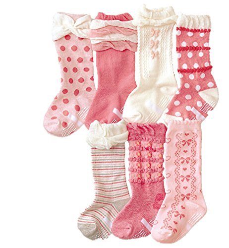 Toptim® Baby Girl's Socks Princess Non-skid Socks for Infants and Toddlers Value Pack (7 Pairs Pink)