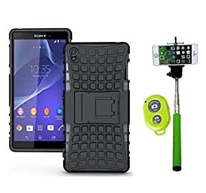Hard Dual Tough Military Grade Defender Series Bumper back case with Flip Kick Stand for Sony SONY Z3 + Wireless Bluetooth Remote Selfie Stick for all Smart phones by carla store.