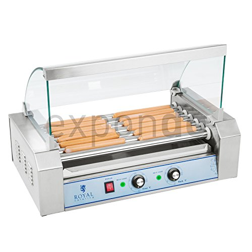 Royal Catering RCHG-7E - HOT DOG Grill / Würstchengrill - 7 Heizstäbe - Spuckschutz - 230 V - 1400 W