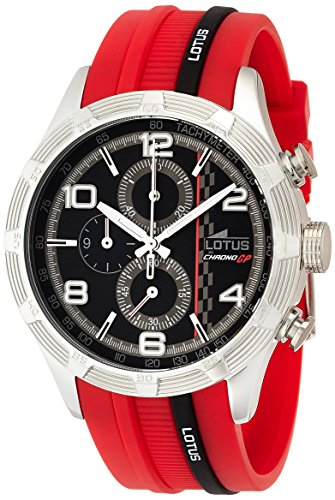 LOTUS men's quartz Watch with black Dial chronograph Display and black rubber Strap 15881/2