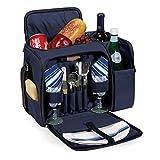 Picnic Time Malibu Insulated Picnic Pack (Navy Blue Bag w/ Lattice Stripe Napkins)