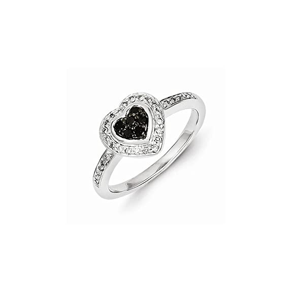Sterling Silver Black Diamond Small Heart Ring