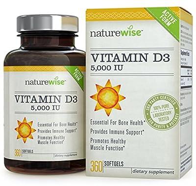 NatureWise Vitamin D3 5,000 IU in Organic Olive Oil, Non-GMO, USP Grade