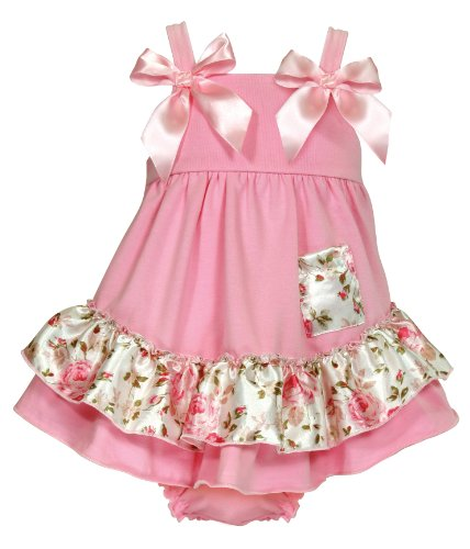 Stephan Baby Swing Top and Ruffled Diaper Cover, Pink Roses, 6-12 Months