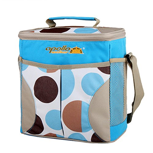 Goldwheat 10L Large Lunch Tote for Women/ Men Insulated Lunch Cooler Bag with Bottle Holder Shoulder Strap, Blue (Lunch Bags With Hard Liner compare prices)