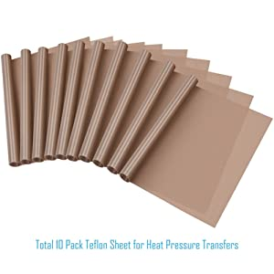 Selizo 10 Pack PTFE Teflon Sheet for Heat Press 16 x 24 Non Stick Heat Resistant Craft Mat