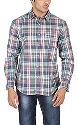 U.S.POLO ASSN. Men Cotton GREEN Casual Shirt (Medium)