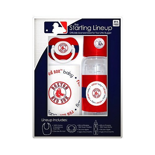 Boston Red Sox Baby Gift Set: Starting Lineup 3-Piece Baby Feeding Set